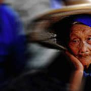 Portrait Of A Senior Lady In Yun Nan, China Art Print