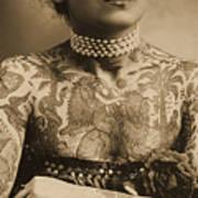 Portrait Of A Tattooed Woman Art Print