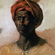 Portrait Of A Turk In A Turban Print by Ferdinand Victor Eugene Delacroix
