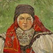 Portrait Of A Woman In A Red Scarf Art Print