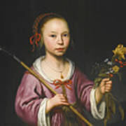 Portrait Of A Young Girl As A Shepherdess Holding A Sprig Of Flowers Art Print