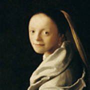 Portrait Of A Young Woman Art Print by Jan Vermeer