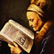 Portrait Of An Old Woman Reading Art Print