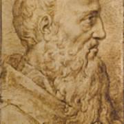 Portrait Of Baccio Bandinelli In Profile To The Right Art Print