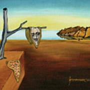 Portrait Of Dali The Persistence Of Memory Art Print