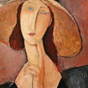 Portrait Of Jeanne Hebuterne In A Large Hat Art Print by Amedeo Modigliani