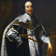 Portrait Of King Charles I After Van Dyck Art Print