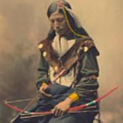 Portrait Of Oglala Sioux Council Chief Bone Necklace Art Print