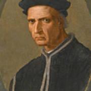 Portrait Of Piero Soderini Half Length Wearing A Black Coat And A Black Hat Art Print