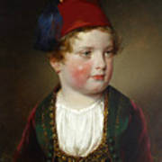 Portrait Of Prince Victor Odescalchi  In Greek Costume At The Age Of Five Art Print