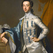 Portrait Of Sir James Lowther 1st Earl Of Lonsdale Three Quarter Length Holding A Mask In His Right  Art Print