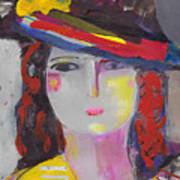 Portrait Of Woman With Vintage Hat Art Print