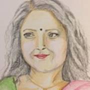 Portrait With Colorpencils 2 Art Print