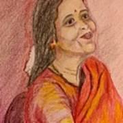 Portrait With Colorpencils Art Print