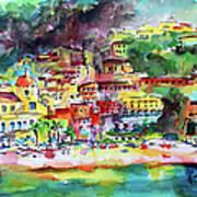 Amalfi Coast Positano Summer Fun Watercolor Painting Art Print