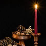 Post Card With Traditional Copper Dishes And Red Candle Art Print