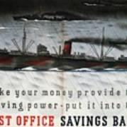 Post Office Savings Bank - Steamliner - Retro Travel Poster - Vintage Poster Art Print