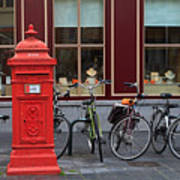 Postbox And Bicycles In Front Of The Diamond Museum In Bruges Art Print