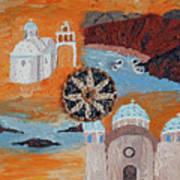 Postcard From Santorini Art Print