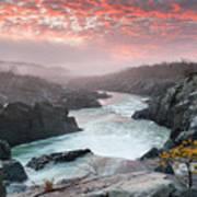Potomac River At Great Falls Sunrise Landscape Art Print