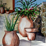 Pots And Bougainvillea Art Print