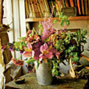 Potting Shed Flowers Print by Gerry Walden