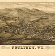 Poultney Vermont Map Vintage Art Print