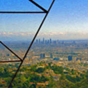 Power Lines Los Angeles Skyline Art Print