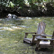 pr 165 - Chairs In The River Art Print