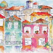 Praca Da Ribeira Porto Art Print