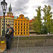 Prague Accordian Player On Charles Bridge Art Print