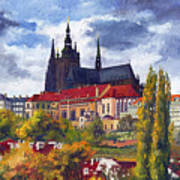 Prague Castle With The Vltava River Art Print