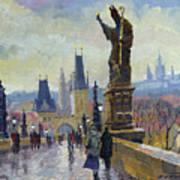 Prague Charles Bridge 04 Art Print by Yuriy  Shevchuk