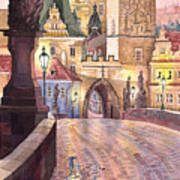 Prague Charles Bridge Night Light 1 Art Print