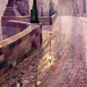Prague Charles Bridge Night Light Art Print