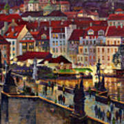 Prague Charles Bridge With The Prague Castle Art Print