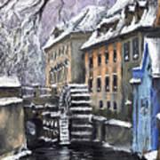 Prague Chertovka Winter Art Print by Yuriy  Shevchuk