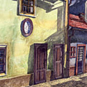 Prague Golden Line Street Art Print by Yuriy  Shevchuk