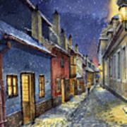 Prague Golden Line Winter Art Print