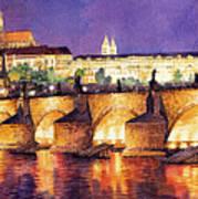 Prague Night Panorama Charles Bridge  Art Print