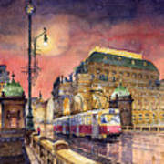 Prague  Night Tram National Theatre Art Print