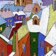 Prague Old Roofs Winter Print by Yuriy  Shevchuk