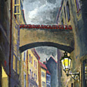 Prague Old Street Love Story Art Print