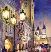 Prague Old Town Square 3 Print by Yuriy  Shevchuk
