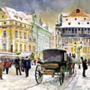 Prague Old Town Square Winter Art Print by Yuriy  Shevchuk