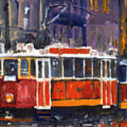 Prague Old Tram 09 Art Print by Yuriy  Shevchuk