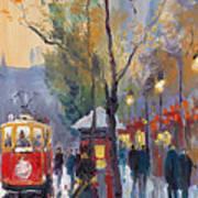 Prague Old Tram Vaclavske Square Art Print