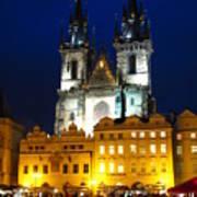 Prague Tower At Night Art Print
