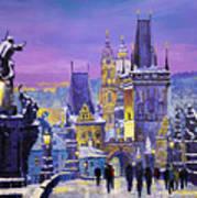 Prague Winter Charles Bridge 3 Art Print