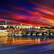 Pragues Historic Charles Bridge Art Print